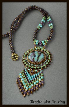 Bead Embroidered, Beaded, Beadwork Summer Skies Necklace. $225,00, via Etsy.