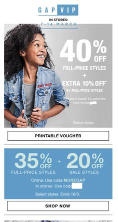 This email from Gap is particularly interesting because its main focus is its in-store sale (promotion for its online sale is only mentioned towards the bottom of the template). Moreover, the discount for the in-store sale is greater. For more examples, check out our blog post here | http://hubs.ly/H06KbR20