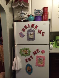 Magnetized Lettering On My Fridge In Alice Wonderland Themed Kitchen