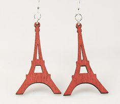 Eiffel Tower Laser Cut Wood Earrings by GreenTreeJewelry on Etsy, $12.95