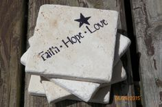 Faith ~ Hope ~ Love Black Stamped Travertine Tile Coaster Set With Star Accent by TrendyTrioDesigns on Etsy