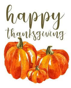 Happy Thanksgiving printable sign Watercolor pumpkin Fall
