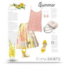"""""""The Perfect Summer Floral Skirt"""" by bliznec ❤ liked on Polyvore featuring Rochas, Hallhuber, Jimmy Choo, Larkspur & Hawk, polyvoreeditorial, Floralskirts and polyvorecontest"""