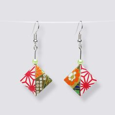 Small Origami Pallet Earrings - HZ053411 Origami Artist, Japanese Paper, Handmade Accessories, Washi, Pallet, Great Gifts, Drop Earrings, Beautiful, Design