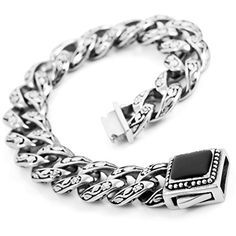 Men's Large Heavy Stainless Steel Enamel Bracelet Link Wrist Silver Black Flower Biker - http://www.spiritualgemstonejewelry.com/mens-large-heavy-stainless-steel-enamel-bracelet-link-wrist-silver-black-flower-biker/