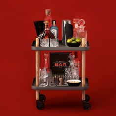 Clean lines and minimal materials make up the Normann Copenhagen Block Table, which also doubles as a handy bar cart. Trolley Table, Serving Trolley, Tea Trolley, Drinks Trolley, Cocktail Trolley, Bar Drinks, Mobile Table, Mobile Bar, Rolling Table