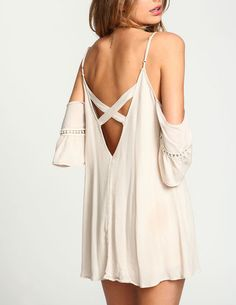 Apricot Spaghetti Strap Off The Shoulder Dress 14.99