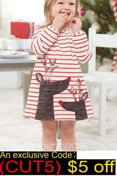3af3ccee29 Ericdress Christmas Long Sleeve Stripe Elk Print Baby Girl s Dress