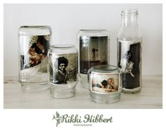 old jars turned photo displays
