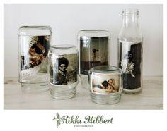 old jars = photo frames!