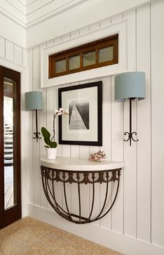 House of Turquoise: R. Great idea for entry table that you couldn't possibly knock over. House Of Turquoise, Foyer Decorating, Interior Decorating, Interior Design, Decorating Ideas, Shiplap Paneling, Paneling Ideas, Wall Mounted Table, Entry Tables
