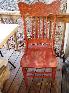 old chair refurbished with terra cotta milk paint