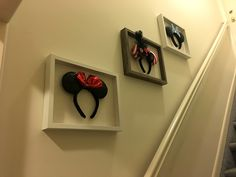 Beautiful and functional way to display your mouse ears! I took shadow boxes, removed the glass and used fabric hooks to place the ears on. Now they are art and still useable for my Disney trips!