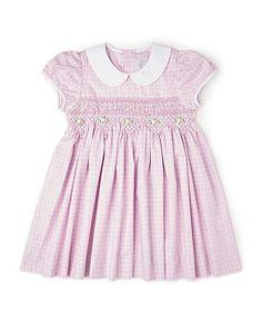 Lavender Gingham Smocked Peter Pan Collar Dress - Girls