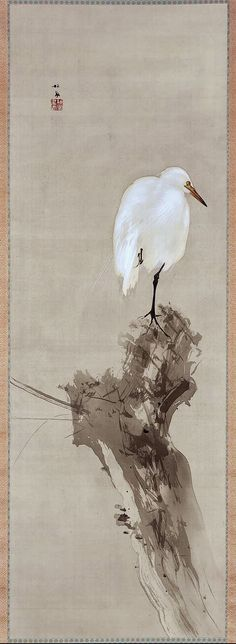 Egret and Willow.   柳鷺 Japanese hanging scroll.  Late Meiji era to early Taisho era.  early 20th century.  Takeuchi Seihô (Japanese, 1864–1942). MFA Boston.
