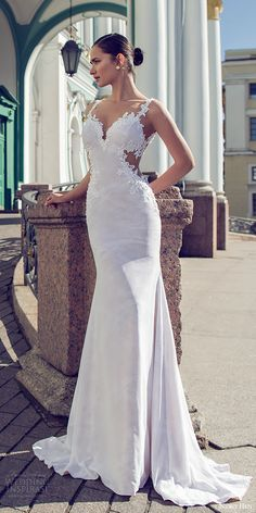 nurit hen 2016 bridal sleeveless sweetheart lace straps sheath wedding dress (02) sexy elegant mv