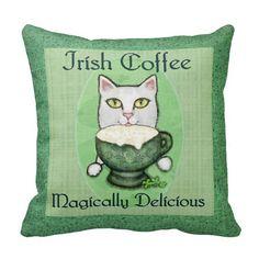 St. Patricks Day Irish Coffee Cat Throw Pillow @zazzle