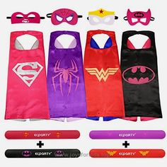 Ecparty 4 Different Superheros Cape and Mask with Wristbands Costumes Set For Girl  BUY NOW     $21.51      Superhero Costume 4 Set for Girl – Spidergirl, Batgirl, Supergirl and Wonder Woman.   Children love their superheroes and  ..  http://www.joysforkids.top/2017/03/03/ecparty-4-different-superheros-cape-and-mask-with-wristbands-costumes-set-for-girl/