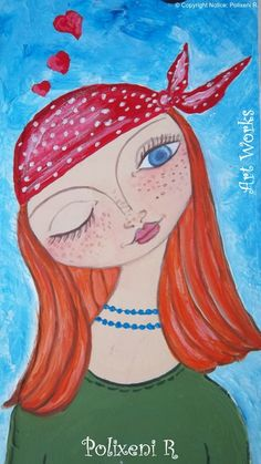 Heart in Love -  Painting by Polixeni R (12 x 23 cms)