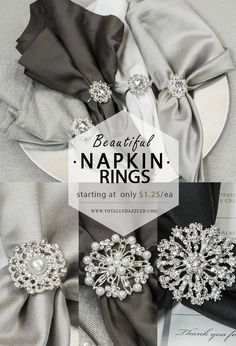 Click here for a variety of napkin rings and other brooch rhinestone products! www.totallydazzled.com