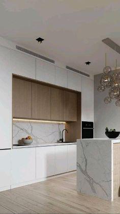 Modern Kitchen Interiors, Luxury Kitchen Design, Kitchen Room Design, Modern Kitchen Cabinets, Home Room Design, Kitchen Cabinet Design, Interior Design Kitchen, Kitchen Ideas, Kitchen Modern