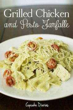 Grilled Chicken and Pesto Farfalle on MyRecipeMagic.com #chicken #pesto #farfalle