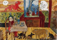 At My Table, 1968 Pen, Ink and Watercolour x Outsider Art, Kitchen Art, Art Google, Contemporary Art, Mosaic, Watercolor, Ink, Fine Art, Sculpture