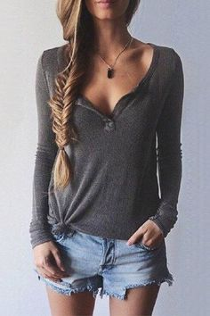 Dark Grey Plunge Blouse with Long Sleeves