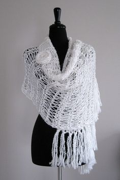 SALE  White Color Lacy Wedding Stole Shawl by KnitsomeStudio