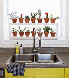 Traga as plantinhas para dentro de casa, inovando e colocando-as no vão da janela da cozinha :D