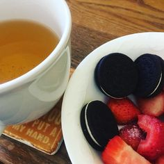 The best after school snack! #tea #strawberries #oreos #yummy #huginacup