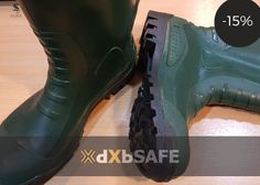 PVC Safety Boots - Green-SIZE 45 = AED64.65 #safetyfirst #safety #ppe #care #health #work #life #time #people #dxbsafe #harvik #boots #footprotection