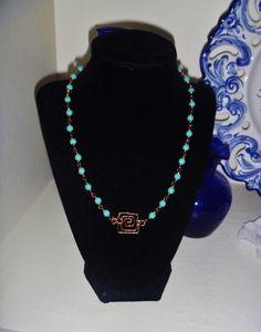 Opaque Turquoise Color Czech Glass Beaded Jewelry Set by PrettyWearJewelry