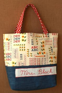 Book Bag for a Teacher Gift.  A Bag for All Reasons pattern by Make it Do.