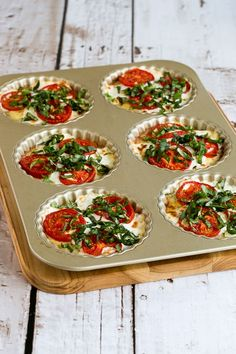 Crustless Tomato-Basil Breakfast Tart with Mozzarella and Goat Cheese found on KalynsKitchen.com.