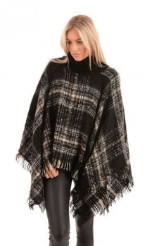 Knit Poncho | Jayley Roll Neck Knit Poncho