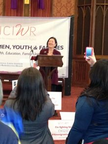 Senator Mazie Hirono speaks to a packed rally (over 500 participants) at a church in DC about why immigration is a women's matter « MomsRising Blog
