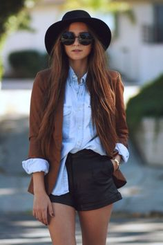 <3 Outfit: Black Shorts, Denim Shirt, Brown Jacket and cool Hat+Sunnies