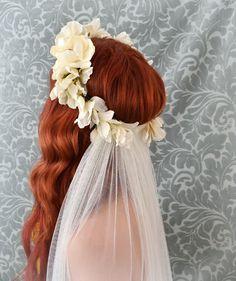 Bridal veil, Ivory flower crown, boho wedding accessory, woodland head piece, bridal hair accessories