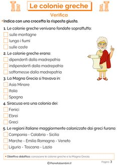 Le Colonie Greche: Schede Didattiche per la Scuola Primaria | PianetaBambini.it New Years Eve Party, Back To School, Improve Yourself, Language, Education, Google, Geography, Historia, First Day Of School