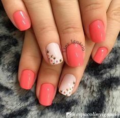 Nail art Christmas - the festive spirit on the nails. Over 70 creative ideas and tutorials - My Nails Spring Nails, Summer Nails, Coral Nails, Cute Acrylic Nails, Flower Nails, Manicure And Pedicure, Toe Nails, Nails Inspiration, Beauty Nails