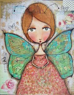 Butterfly girlprint by PBsArtStudio on Etsy Mixed Media Canvas, Mixed Media Art, Illustrations, Illustration Art, Frida Art, Angel Art, Art Journal Inspiration, Art Journal Pages, Whimsical Art
