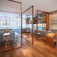 divisória de ambiente feita de vidro e madeira para escritório Corporate Office Design, Small Office Design, Office Interior Design, Office Interiors, Office Designs, Corporate Offices, Design Offices, Modern Offices, Modern Interior