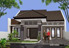 Modern minimalist home design 1 floor - The house is a person's basic needs to be used as a residence. Modern Minimalist House, Modern House Design, Minimalist Garden, Home Interior Design, Exterior Design, One Storey House, Build Your Own House, Art Deco Home, House Built