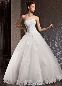 strapless tulle wedding dress with appliques