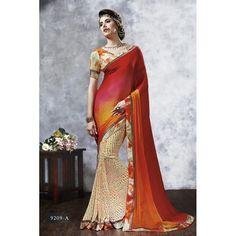 Diwali Special Multicolor Printed With Border Chiffon Georgette Saree-RKVIKI9209A(FH-RKVIKI9201)