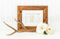 Wood Grain Landscape Frame on White Desk w/ Antler & Roses / Stock Photography / Print Background / Product Styling / High Res File #128