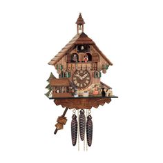River City Clocks MD498-14 Waterwheel Turns with Boy and Girl Kiss Musical Cottage Cuckoo Clock - MD498-14