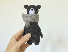 Felt Grey Bear In A Knitted Scarf, Stuffed Bear, Felted Miniature Animals, Felt…