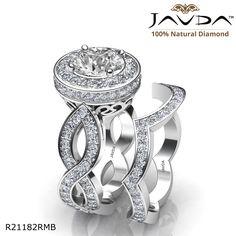 Infinity Shank Halo Bridal Set Round Diamond Engagement Ring 14k White Gold.
